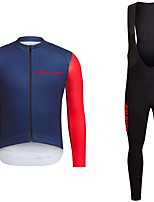 cheap -Cycling Jersey with Bib Tights Unisex Long Sleeves Bike Jersey Clothing Suits Bike Wear Fast Dry Geometric Cycling / Bike Red+Blue Dark