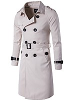 cheap -Women's Daily Vintage Fall Trench Coat,Solid Shirt Collar Long Sleeve Long Others