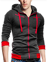 cheap -Men's Casual/Daily Simple Hoodie Solid Hooded Micro-elastic Polyester Long Sleeve Spring/Fall
