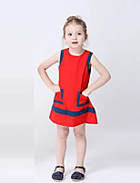 Girl's Color Block Dress,Polyester Summer Sleeveless Cute Active Red