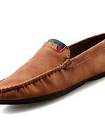 abordables -Hombre Zapatos Cuero Primavera Otoño Mocasín Zapatos de taco bajo y Slip-On para Casual Gris Marrón Caqui