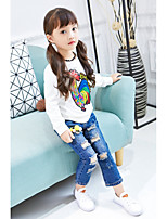 cheap -Girls' Solid Cartoon Tee,Cotton Polyester Spring Fall Long Sleeve Simple Cute White Black