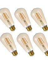 cheap -6pcs 4W 320lm E26 LED Filament Bulbs ST21 4 LEDs COB Dimmable Edison Bulb Decorative LED Lights Warm White 2200K AC 110-130V
