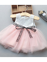 Girl's Holiday Solid Dress,Cotton Summer Sleeveless Simple White Blushing Pink