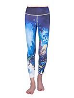 Недорогие -Женский Укороченные брюки для бега Фитнес, бег и йога Брюки Йога Бег Пилатес Искусственный шёлк Полиэстер Облегающие Белый Черный