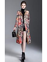 cheap -Women's Daily Casual Fall Trench Coat,Print Shirt Collar Long Sleeve Long PU