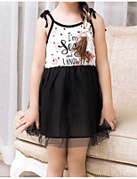 Girl's Holiday Polka Dot Print Dress,Cotton Summer Sleeveless Simple White