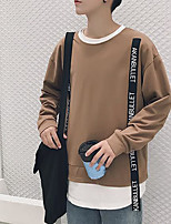 cheap -Men's Petite Going out Sweatshirt Solid Round Neck Micro-elastic Polyester Long Sleeve Autumn/Fall