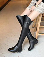 cheap -Women's Shoes PU Winter Fall Comfort Boots Chunky Heel Closed Toe Over The Knee Boots for Casual Black