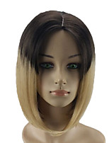 cheap -Women Synthetic Wig Medium Length Straight Black/Blonde Ombre Hair Middle Part Bob Haircut Natural Wigs Costume Wig