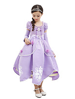 cheap -Princess Sofia One Piece Dress Kid Halloween Birthday Festival / Holiday Halloween Costumes Light Purple Color Block