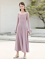 MASKED QUEEN Women's Party Going out Simple Vintage Swing Dress,Solid Square Neck Midi Long Sleeve Cotton Winter Fall High Waist Micro-elastic Thick