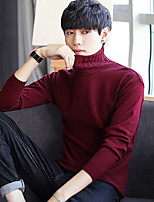 cheap -Men's Casual/Daily Simple Regular Pullover,Solid Turtleneck Long Sleeves Polyester Fall Thin Stretchy