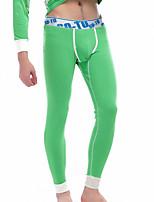 abordables -Hombre Rígido Sólido Medio Long Johns,Algodón Poliéster 1pc Verde Trébol Blanco Gris Amarillo Gris Claro