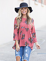cheap -Women's Daily Holiday Street chic Winter Fall T-shirt,Floral Round Neck ¾ Sleeve Polyester