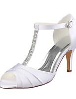 preiswerte -Damen Schuhe Stretch - Satin Sommer Pumps Hochzeit Schuhe Stöckelabsatz Peep Toe Kristall für Kleid Party & Festivität Weiß