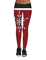 preiswerte -Damen Stilvoll Mittel Polyester Elasthan Druck Bedruckt Legging,Rote