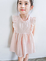 Girl's Holiday Casual/Daily Solid Dress,Cotton Summer Sleeveless Simple Blue Blushing Pink