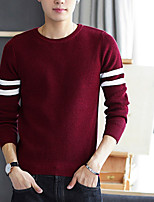 Men's Party Simple Regular Pullover,Print Round Neck Long Sleeves Polyester Winter Opaque Micro-elastic