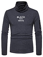 cheap -Men's Daily Casual Regular Pullover,Print Turtleneck Long Sleeves Polyester Spandex Winter Fall Thick Micro-elastic