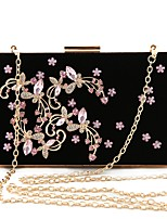 cheap -Women Bags Velvet Evening Bag Crystal Detailing for Wedding Event/Party All Season Blushing Pink Black