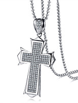 Men's Pendant Cubic Zirconia Cross Stainless Steel Zircon Casual Fashion Cool Jewelry For Daily Formal