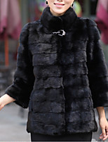 Women's Casual/Daily Simple Winter Fall Fur Coat,Solid Turtleneck Long Sleeve Regular Faux Fur Fur Trim