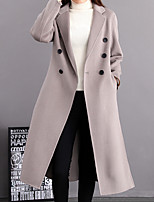 cheap -Women's Daily Casual Winter Trench Coat,Solid Round Neck Short Sleeve Regular Cotton Acrylic Others Pleated