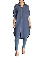 cheap -Women's Daily Work Casual Street chic Spring Fall ShirtSolid Shirt Collar Long Sleeve Polyester Medium