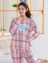 Costumes Pyjamas Femme,Imprimé Imprimé Coton Rose Claire