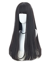 cheap -Women Wig Long Straight Black Synthetic Fiber Women Wig With Bangs Party Costume Wigs