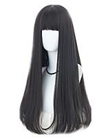 economico -Donna Parrucche sintetiche Lungo Dritto Nero Naturale Attaccatura dei capelli naturale Con frangia Parrucca naturale Parrucca di celebrità
