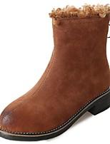 baratos -Feminino Sapatos Couro Ecológico Inverno Conforto Botas Salto Baixo Ponta Redonda para Casual Preto Castanho Claro