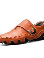 abordables -Hombre Zapatos Cuero de Napa Primavera Otoño Confort Zapatos de taco bajo y Slip-On para Casual Negro Amarillo Morrón Oscuro