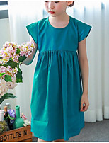 Girl's Going out Casual/Daily Solid Dress,Cotton Summer Sleeveless Street chic Blue