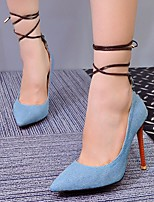 cheap -Women's Shoes Denim Spring Summer Basic Pump Heels Stiletto Heel Pointed Toe for Casual Light Blue Blue