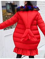 cheap -Girls' Daily Solid Lines / Waves Mermaid Down & Cotton Padded,Cotton Polyester Long Sleeves Cute Active Cartoon Yellow Blushing Pink Red