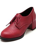 abordables -Mujer Zapatos PU Primavera Otoño Confort Innovador Botas de Combate Botas Tacón Bajo Dedo redondo para Fiesta y Noche Negro Gris Rojo
