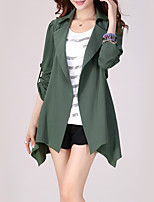 cheap -Women's Holiday Casual/Daily Street chic Spring Fall Trench Coat,Solid Shirt Collar ¾ Sleeve Regular Polyester