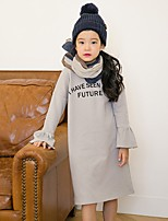 Girl's Casual/Daily Solid Dress,Polyester Winter Fall Long Sleeves Simple Light gray