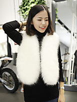 cheap -Women's Daily Casual Sophisticated Winter Fall Fur Coat,Solid V Neck Sleeveless Short Faux Fur