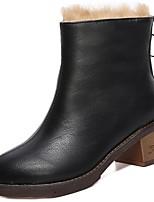 Недорогие -Для женщин Обувь Полиуретан Зима Осень Удобная обувь Модная обувь Ботинки На толстом каблуке Круглый носок Сапоги до середины икры для