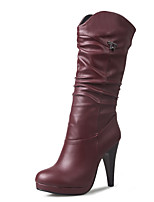 abordables -Femme Chaussures Similicuir Hiver Automne Bottes à la Mode Botillons Bottes Talon Aiguille Bout rond Bottes Bottes Mi-mollet Drapée sur