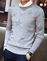 cheap -Men's Casual/Daily Simple Regular Pullover,Solid Round Neck Long Sleeve Polyester Wool Blend Winter Fall Thin Micro-elastic