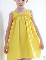 Girl's Holiday Solid Dress,Cotton Summer Sleeveless Simple Yellow