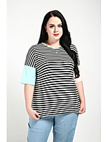 cheap -Women's Daily Going out Casual Active Street chic Spring T-shirt,Striped Color Block Round Neck ½ Length Sleeve Cotton Rayon Polyester