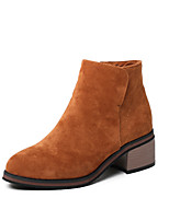 cheap -Women's Shoes Fleece Winter Fall Fashion Boots Bootie Boots Low Heel Round Toe Booties/Ankle Boots for Office & Career Dress Brown Gray