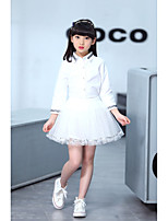 cheap -Girls' Daily Going out Solid Clothing Set,Cotton Polyester Spring Long Sleeve Cute Casual White