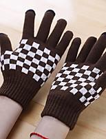 Недорогие -Унисекс Для офиса На каждый день До запястья С пальцами,Зима Вязаная одежда Решетка Коричневый Белый