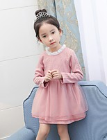 Girl's Birthday Casual/Daily Solid Dress,Cotton Polyester Spring Fall Long Sleeves Simple Blushing Pink